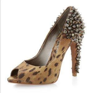 Sam Edelman Lorissa Leopard Open Toe Studded Heel